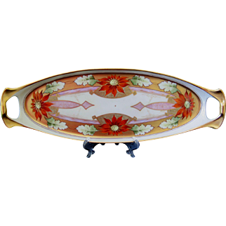 "Hand Painted Pickard Handled Tray, ""Poinsettia Pendant"", Signed J Nessy"