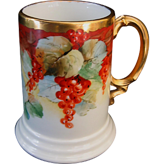 Hand Painted Limoges Currants Mug, Artist Signed GERARD