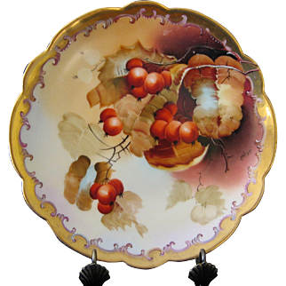 Pickard Hand Painted Currants, Scalloped Plate, Artist NESSY