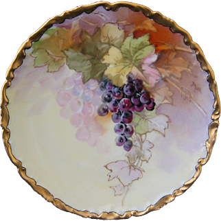 Brauer Hand Painted Limoges Plate, Grapes and Gold, Artist Signed