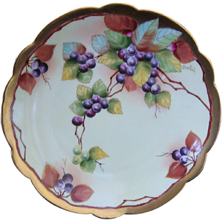 Pickard Hand Painted Plate, Blueberries, Artist signed BEUTLICH
