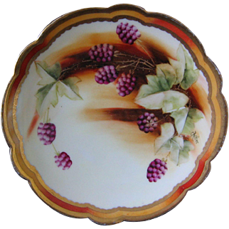 Pickard Hand Painted Plate, Blackberries, Artist Signed BEITLER