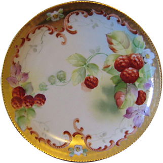 Pickard Hand Painted Plate, Raspberries, Artist Signed REAN