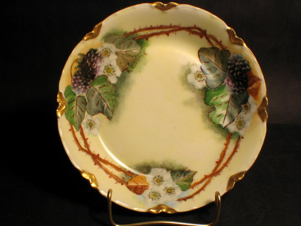 Hand Painted Limoges Blackberries Bowl signed A.JUNKENS