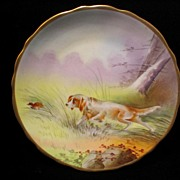 Limoges Hand Painted Hunting Dog Scene Plate Artist Signed PLANCHAT