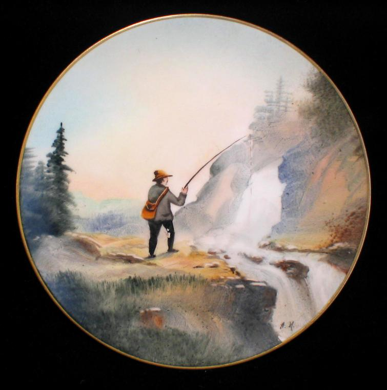 Donath Handpainted Scenic Mountain Fishing Plate Artist Signed HEIDRICH