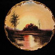Hand Painted Limoges SUNSET LAKE SCENE Artist Signed Plate