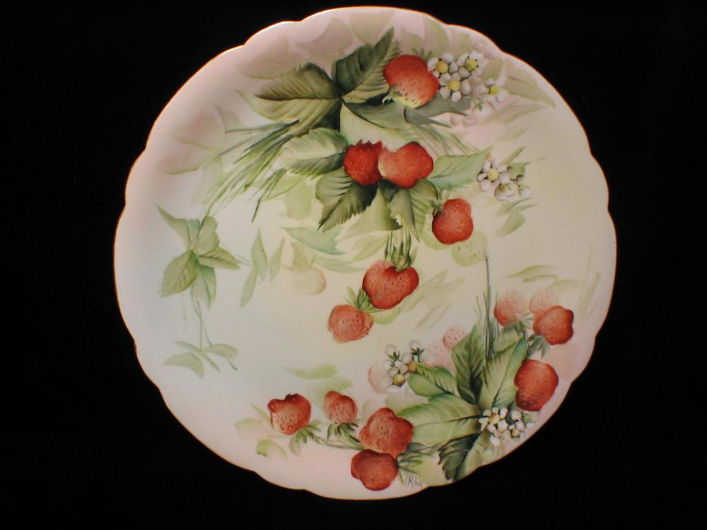 Rare Limoges Handpainted Strawberry Charger Artist Signed E. MILER
