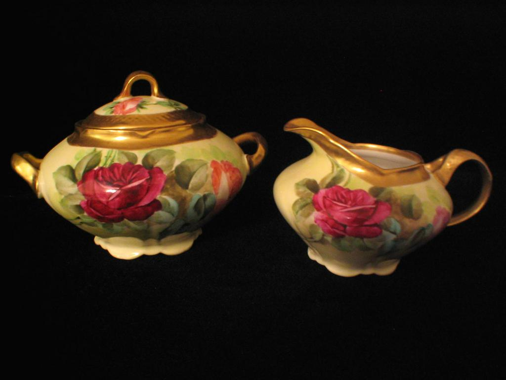 Ginori Handpainted Roses Creamer and Sugar Bowl Artist Signed