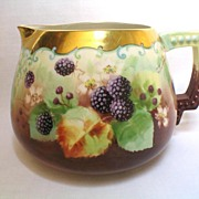 """Hand Painted American Belleek """"Blackberries"""" Cider or Lemonade Pitcher Artist Signed KIEFUS"""