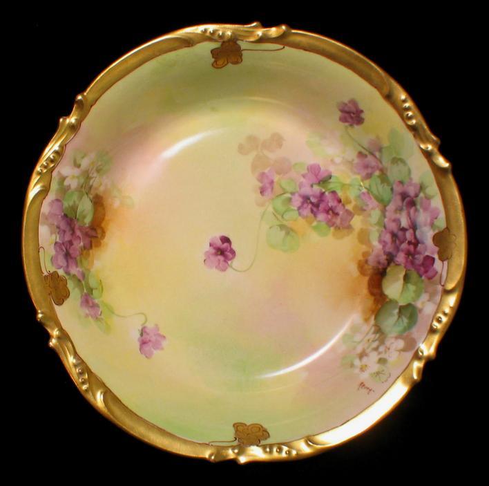 Limoges Hand Painted Pickard Violets Bowl Artist Signed