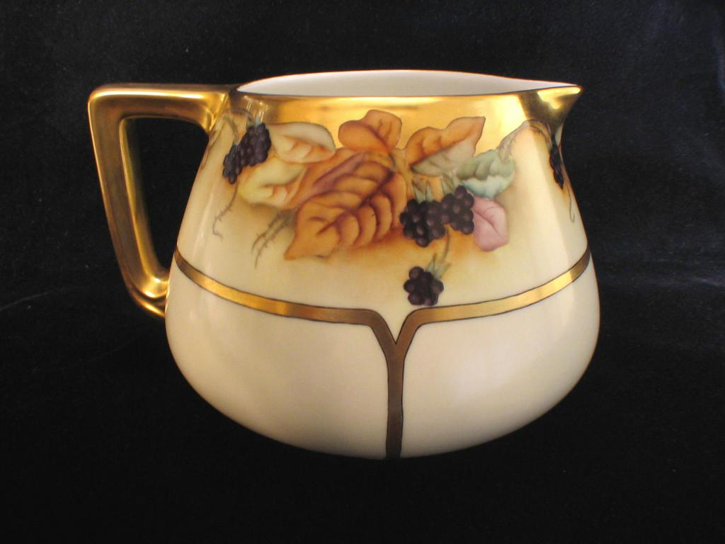 Hand Painted Limoges Cider Or Lemonade Pitcher With