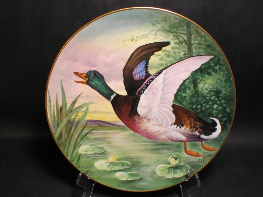Hand Painted Mallard Duck Charger signed C KOENIG