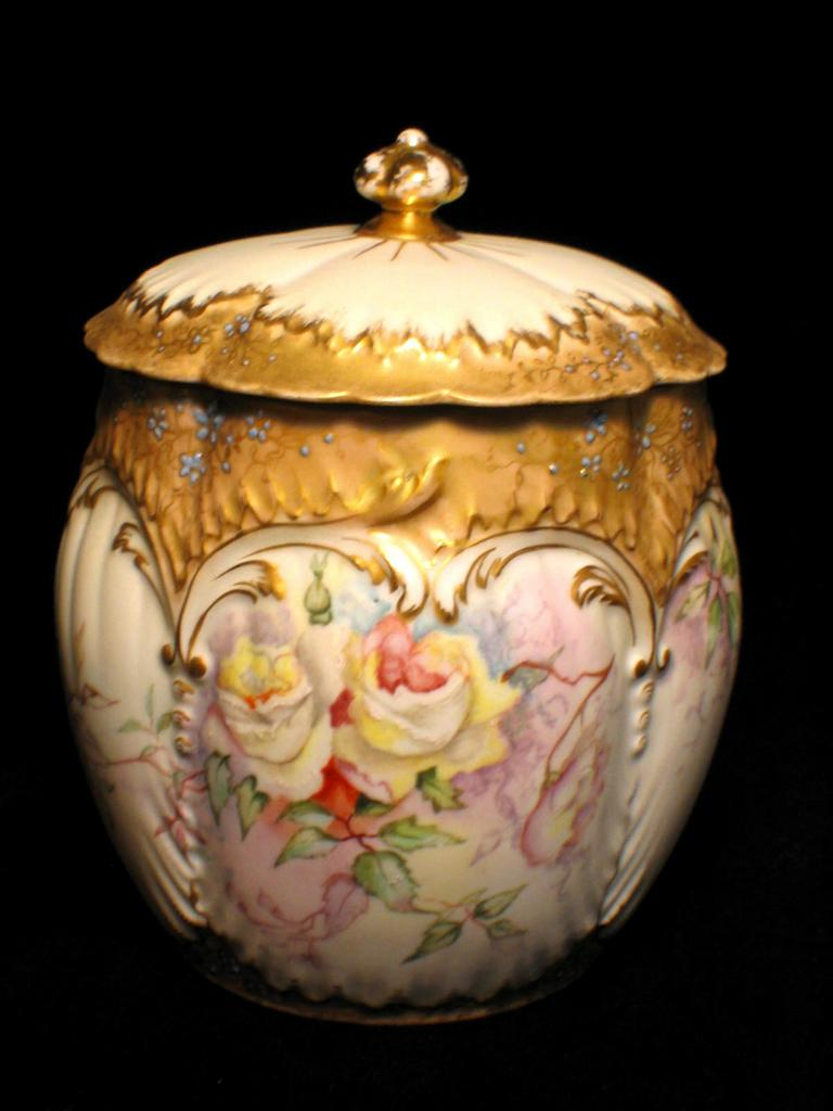 Early Martial Redon Limoges Handpainted Biscuit Jar Old