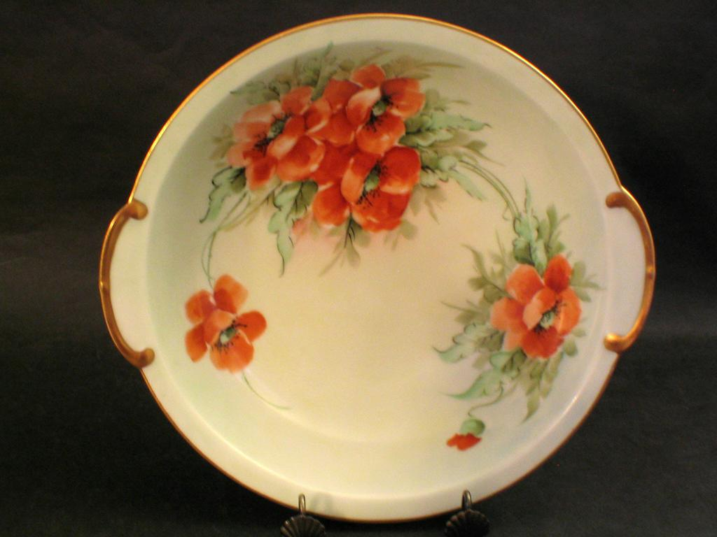 Large Hand Painted Bavarian Poppy Bowl Signed BROWN