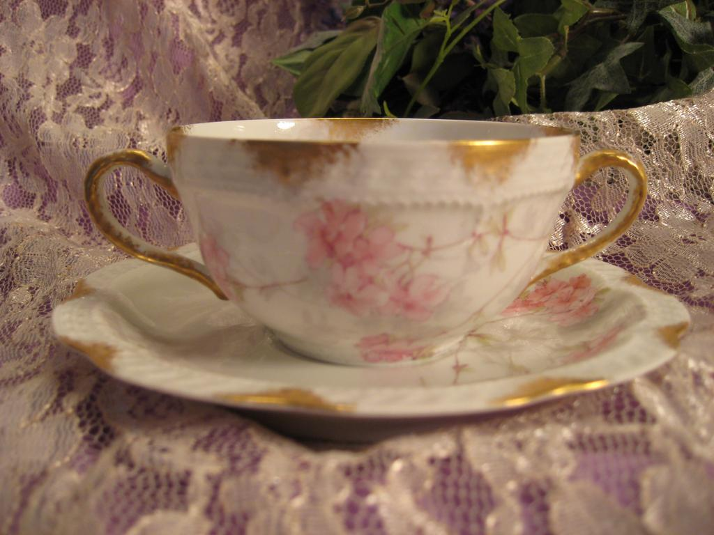 Gorgeous Haviland & Co Limoges France Bouillon Cup and Saucer Delicate Pink Roses ~ circa 1893 - 1930