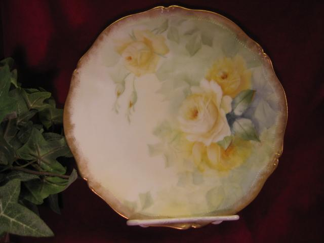 Absolutely Charming Six OF SIX Hand Painted TEA ROSES Antique Limoges France Porcelain Fine Art Cabinet Plate Tressemann & Vogt T&V circa 1892 - 1907