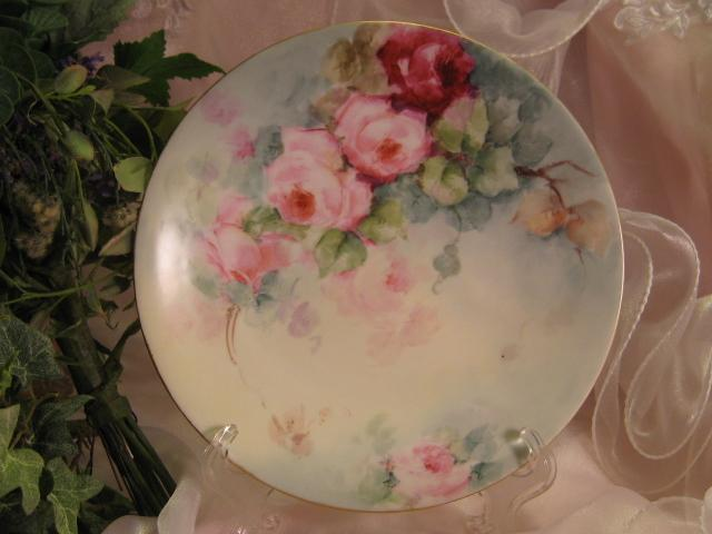 """ROSES ROSES ROSES"" Gorgeous Antique Limoges France Hand Painted Victorian Porcelain Cabinet Plate ~ Jean Pouyat JP L French Floral Art Plate 8 3/8"" Circa 1900"