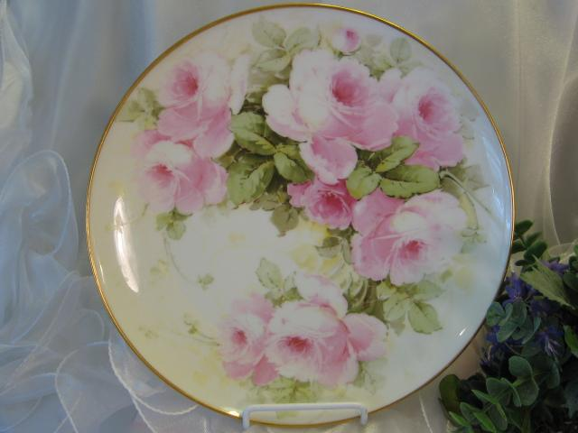 """PINK TEA ROSES PERFECTION"" Gorgeous Antique T&V Limoges France Hand Painted Decorative Art Wall Charger or Cabinet Plate Circa 1900"