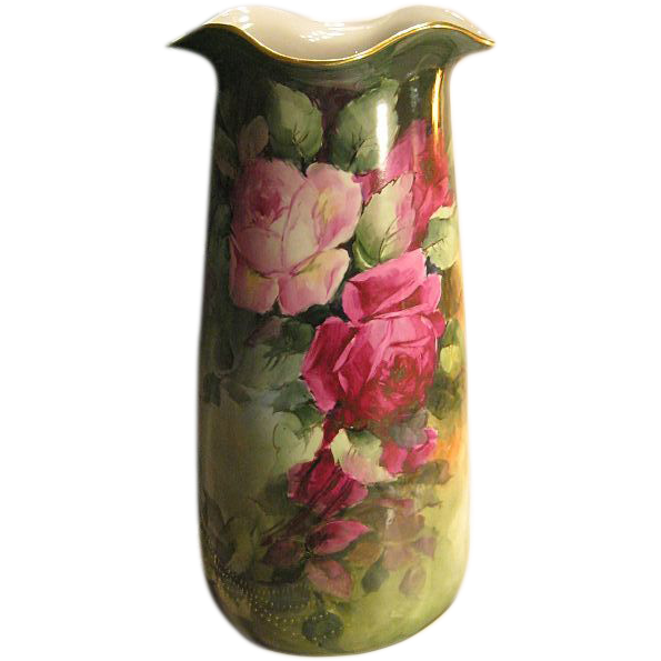 "Absolutely Magnificent Antique Limoges France 14 1/2"" VASE Roses Exquisite Victorian PINK and BURGUNDY ROSES Hand Painted Turn-of-the-Century Impressive Rare Mold Circa 1900"