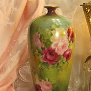 "Exquisite Antique T&V Limoges France Vase 14 1/4"" Tall Hand Painted Roses Vintage Victorian China Painting of  PINK ROSES Handpainted Floral Art Fine French Porcelain Masterpiece Tressemann and Vogt, circa 1900"