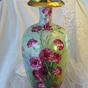 "Absolutely Magnificent Turn-of-the-Century VICTORIAN MASTERPIECE Exquisite and Superbly Hand Painted Drop Dead Gorgeous ""Very Rare"" Carnations Antique Porcelain Limoges France Lamp Vase Master Artistry William Guerin circa 1891 –1900"