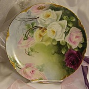 """FRENCH TEA ROSES PERFECTION"" Gorgeous Antique Limoges France Hand Painted Decorative Art Cabinet Plate Haviland & Co circa 1893 - 1930"