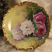 "True Classic Antique Hand Painted Limoges ROSES Plaque Charger French Artist ""B Aubin"" Outstanding Victorian Highly Collectible Floral China Painting French Porcelain w Elegant Rococo Gold Border circa1900"