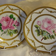 "Incredible Museum Quality Limoges France Service Dinner Plate Set Exceptional Hand Painted Roses Gold Encrusted Borders Victorian Heirloom Table Setting Artist Signed ""Schopp"" D.B. Bedell & Co New York, Charles J. Ahrenfeldt Circa 1900"
