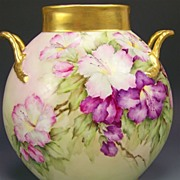 Absolutely Stunning ~ MAGNIFICENT Limoges France Antique Handled Pillow Vase Hand Painted Rare and Gorgeous Azalea's Pristine Condition Jean Pouyat Circa 1900's