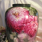 Absolutely Stunning ~ MAGNIFICENT Museum Quality Limoges France Antique Porcelain Vase Hand Painted Large Pink and Burgundy CABBAGE ROSES Superb Artistry ~ Artist Signed ~ Circa 1925
