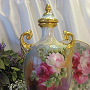 Absolutely Stunning Rare Beauty ~ Gorgeous Victorian Limoges France Covered Urn Vase Potpourri Jar Exceptional One-of-a-kind Hand Painted Roses Fine Porcelain Heirloom Treasure Circa 1900