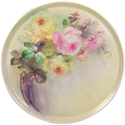 "Breathtaking LARGE 16"" ROMANTIC TEA ROSES Antique Limoges French Hand Painted Victorian Canvas Art Plaque Tray Charger Tressemann and Vogt T&V circa 1900"