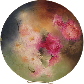 """STUNNING VICTORIAN MUMS"" Absolutely Stunning Large 16"" Antique Hand Painted Limoges France Charger Plaque Tray Plate Vintage Victorian Heirloom Floral Art China Painting Original ONE-OF-A-KIND Handmade Artistry Fine French Jean Pouyat Circa 1900"