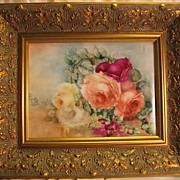 """Breathtaking HAND PAINTED ROSES"" ~ Museum Quality Masterpiece T&V Limoges France Stunning Still Life Painting on Porcelain ~ Magnificent Framed Piece of Fine Art ~ Heirloom Treasure ~ Collector Piece ~ circa 1900"