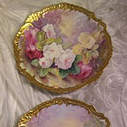 "Stunning Pair 17 1/2"" Antique Hand Painted Limoges Wall Plaques Chargers ~ Breathtaking ROSES ~ Museum Quality Masterpiece Still Life Painting One-of-a-Kind Floral French Painting on Porcelain w Elegant Rococo Border ~ Artist Signed ""Bronssillon"""