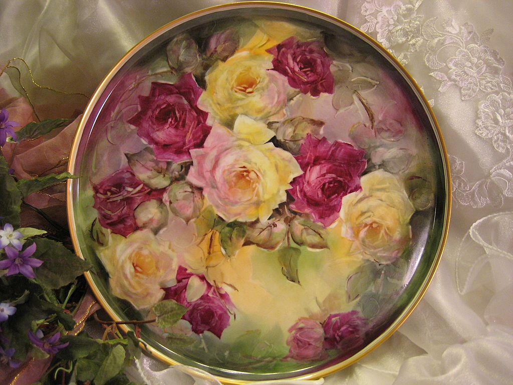 """STUNNING VICTORIAN ROSES"" Absolutely Gorgeous Large 13 7/8"" Antique Hand Painted Limoges France Serving Tray Charger Plaque Plate Vintage Victorian Heirloom Floral Art China Painting Original ONE-OF-A-KIND Handmade Artistry Fine French circa 1900"