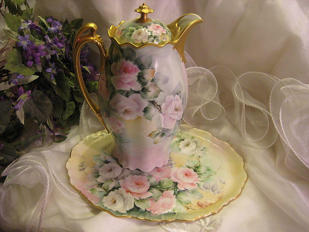 tea set vintage roses wallpaper - photo #6