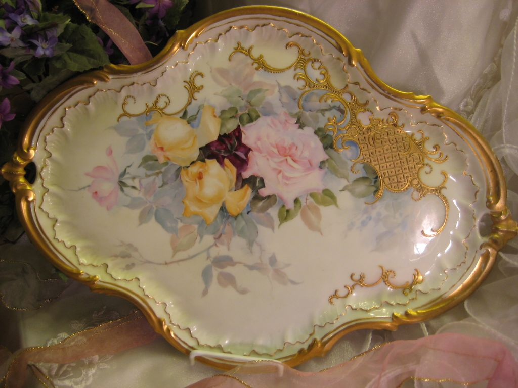 """Absolutely Breathtaking Masterpiece"" Antique Unmarked Limoges French Rare LARGE SERVING HANDLED TRAY Hand Painted Superb Delicate Pastel Roses ~ Wonderful Gold Paste Work ~ Heavy Gold ~ Victorian Heirloom French Tea Service Tray circa 1899"