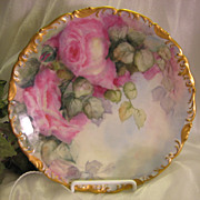 Stunning Hand Painted Roses VICTORIAN BOUQUET Floral Art Plate T&V Limoges French Gorgeous Rococo Scalloped Border Decorative Art China Hand Painted Still Life Tressemann and Vogt circa 1900