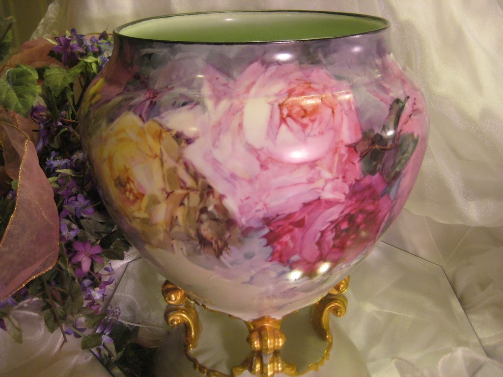 """BREATHTAKING ROSES"" Massive and Rare Footed FRENCH JARDINIERE PLANTER POT Gorgeous Antique Limoges France Hand Painted Victorian Treasure Collector Piece Master Artistry Franz A. Bischoff Franz B. Aulich Circa 1900"