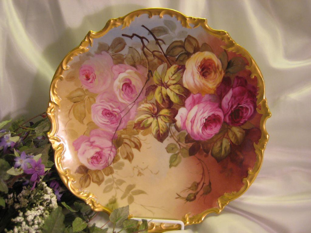 "Exquisite Vintage Limoges French Antique Roses 13 1/4"" PLAQUE Hand Painted Victorian Floral Art Charger c1900 China Painting Artist Signed Classical French Still Life"