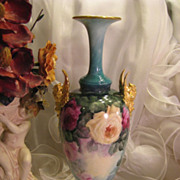Gorgeous Large  Antique Porcelain Belleek Griffin Handled Trumpet Vase, Superb Mastery Artistry Hand Painted Roses ~ Vintage Victorian China Painting, Circa 1900