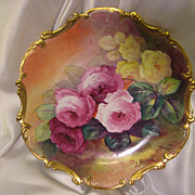"Stunning 15 3/4"" Antique Hand Painted Limoges Wall Plaque Charger ~ Breathtaking ROSES ~ Museum Quality Masterpiece Still Life Painting One-of-a-Kind Floral French Painting on Porcelain w Elegant Rococo Border ~ Artist Signed ""Bronssillon"""