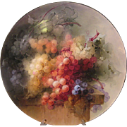 "Masterful Antique Limoges France  18"" ART WALL PLAQUE or CHARGER ~ TRULY EXEMPLARY Hand Painting of LUSCIOUS GRAPES ~ A Spectacular and Perfect Heirloom Treasure Circa 1892"