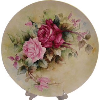 """Gorgeous LARGE 16"""" ROMANTIC TEA ROSES Antique Limoges French Hand Painted Victorian Canvas Art Plaque Tray Charger  circa 1891 - 1932"""