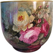 """""""BREATHTAKING ROSES"""" Massive FRENCH JARDINIERE PLANTER POT Gorgeous Antique Limoges France Hand Painted Victorian Treasure Collector Piece Master Artistry Circa 1900"""