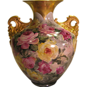 """Absolutely Stunning"" Exceptional Antique CAC Belleek Vase PINK BURGUNDY YELLOW ROSES ~ Cherub Handles ~ Gorgeous Hand Painting ~ Master Artistry ~ Ceramic Arts Company Vase, circa 1900"