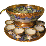 "Gorgeous Antique T&V LIMOGES FRANCE Complete Hand Painted Porcelain PUNCH BOWL and Matching Plinth/Pedestal/Base and Matching 18"" Tray ~ Ladle ~ Sixteen Cups ~ Beautiful Lavender Violets ~ Victorian Masterpiece Heirloom Treasure ~ Circa 1900"
