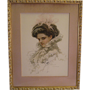 Wonderful Harrison Fisher Beauty ~ 1909 Vintage Print in Gold and Gesso Wood Frame